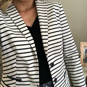 The Limited navy and white striped blazer